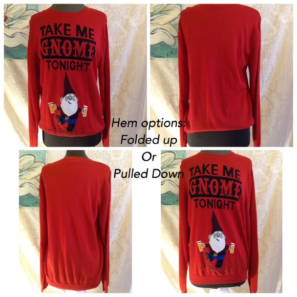 Mossimo Supply Co Sweaters Mossimo Take Me Gnome Tonight Red Ugly